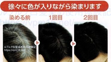 徐々に色が入りながら染まります、髪色見本(ルプルプ)