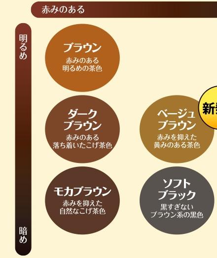 ルプルプ5色のカラーチャート(明るい・赤み)